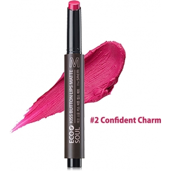 Помада для губ матовая 02 Eco Soul KISS Button Lips Matte  02 Confident Charm