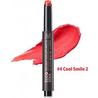 Помада для губ матовая 04 Eco Soul KISS Button Lips Matte  04 Cool Smile 2