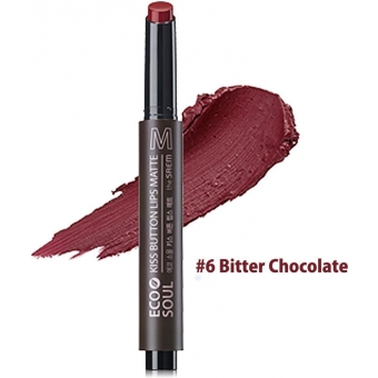 Помада для губ матовая 06 Eco Soul KISS Button Lips Matte  06 Bitter Chocolate