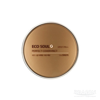 Пудра компактная 21 тон  Eco Soul Perfect Cover Pact 21 Light Beige