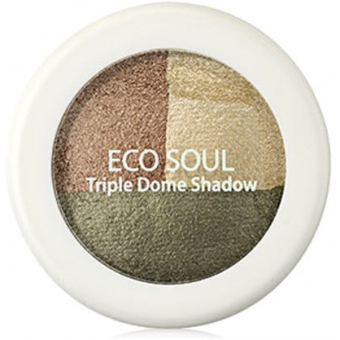Тени для век тройные Eco Soul Triple Dome Shadow KH01 Deeply Moved Khaki