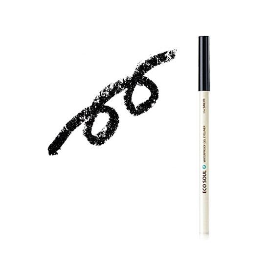 Карандаш для глаз водостойкий гелевый 01 Eco Soul Waterproof Gel eyeliner 01 Deep sea pearl black
