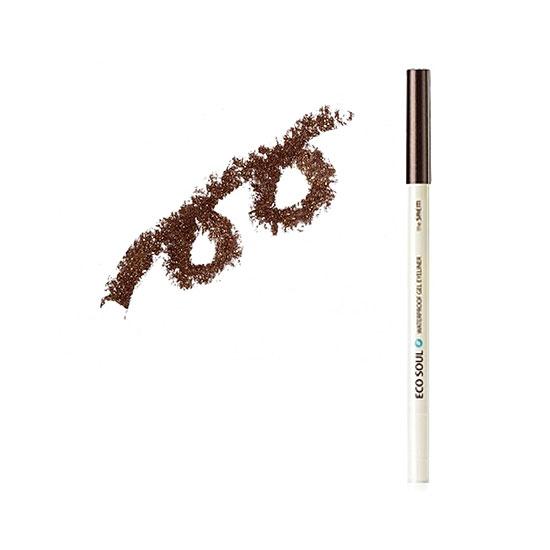 Карандаш для глаз водостойкий гелевый 02 Eco Soul Waterproof Gel eyeliner 02 Hot tanning brown
