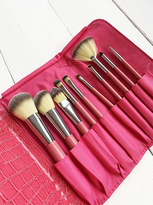 Набор из 10 кистей для макияжа розовый Mint Bear